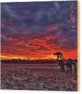 Majestic Red Clouds Winter Sunset The Iron Horse Art Wood Print