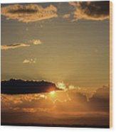 Majestic Vivid Sunset/sunrise With Dark Heavy Clouds And Sunrays Wood Print