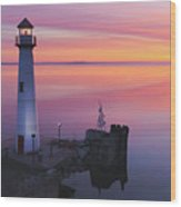 Majestic Wawatam Lighthouse In Stunning Predawn Light Wood Print