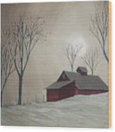 Majestic Winter Night Wood Print