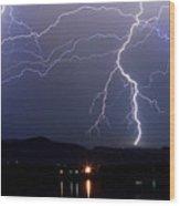 Major Foothills Lightning Strikes Wood Print