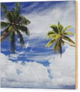 Majuro Atoll, Two Coconut Trees Lean Over Wood Print