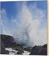 Makapu'u Lava Rock Splash Wood Print