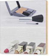 Make Up Set And Lipsticks Wood Print