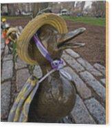 Make Way For Ducklings B.a.a. 5k Spring Bonnet Blanket Wood Print