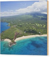 Makena Beach Aerial Wood Print