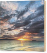 Makena Beach Maui Hawaii Sunset Wood Print