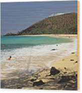 Makena Beach Panorama Wood Print