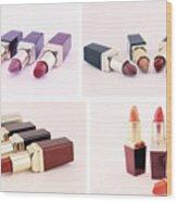 Makeup Set Of Lipsticks Isolated Wood Print