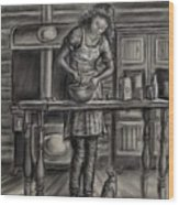 Making Bread In The Cabin Wood Print