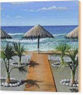 Makry Gialos Beach Wood Print