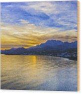 Makrygialos Sunset Digital Painting Wood Print
