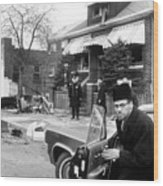 Malcolm X, Returns Home After His House Wood Print by Everett