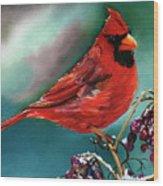 Male Cardinal And Snowy Cherries Wood Print