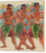 Male Dancers Of Lifuka, Tonga Wood Print