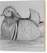 Male Mandrain Duck  Wood Print