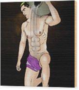 Male Nude Art Comics  Aquarius Wood Print