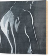 Male Nude Black And Grey Wood Print