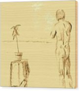 Male Nude By House Plant Wood Print