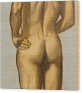 Male Nude Self Portrait By Victor Herman Wood Print
