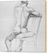 Male Nude With Chair Wood Print