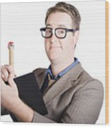 Male Office Pa Writing In Diary. Event Planner Wood Print by Jorgo Photography - Wall Art Gallery