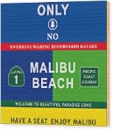 Malibu Beach California Surf Wood Print
