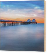 Malibu Pier Sunrise Wood Print