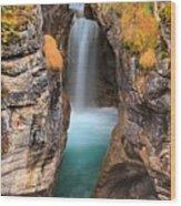 Maligne Canyon Falls Vertical Panorama Wood Print