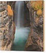 Maligne Canyon Vertical Panorama Wood Print
