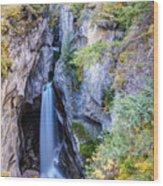 Maligne Canyon Waterfall Wood Print