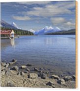 Maligne Lake -- Jasper Alberta Canada Wood Print by Daniel Hagerman
