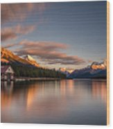 Maligne Lake Sunrise Wood Print