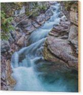 Maligne River In Autumn Wood Print