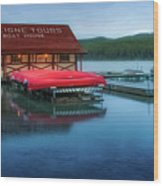 Maligne Tours Boat House Wood Print