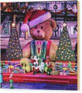 Mall Santa With Child Wood Print
