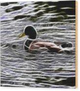 Mallard Duck - Fractal Wood Print