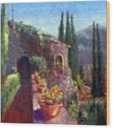 Mallorcan Monastery Wood Print by Shirley Leswick