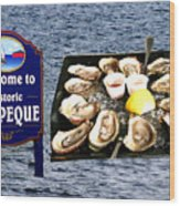 Malpeque Oyster Poster Wood Print