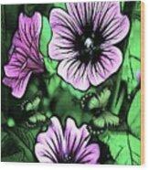 Malva Flowers Wood Print