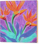 Mama And Her Chicks By Ken Tesoriere Wood Print