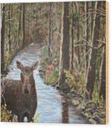 Mama Moose And Calf Wood Print