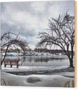 Mamaroneck Harbor In Winter Wood Print