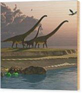Mamenchisaurus Dinosaur Morning Wood Print