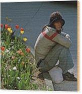 Man Alone Sitting On Curb Wood Print