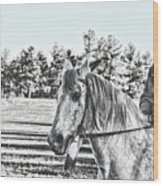 Man And His Horse Wood Print