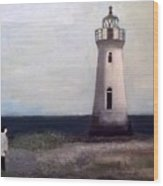 Man And Lighthouse Wood Print