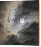Man And Moon Wood Print