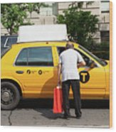 Man Asks For Information A Taxi Driver In Manhattan. Wood Print