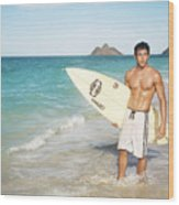 Man At The Beach With Surfboard Wood Print by Brandon Tabiolo - Printscapes